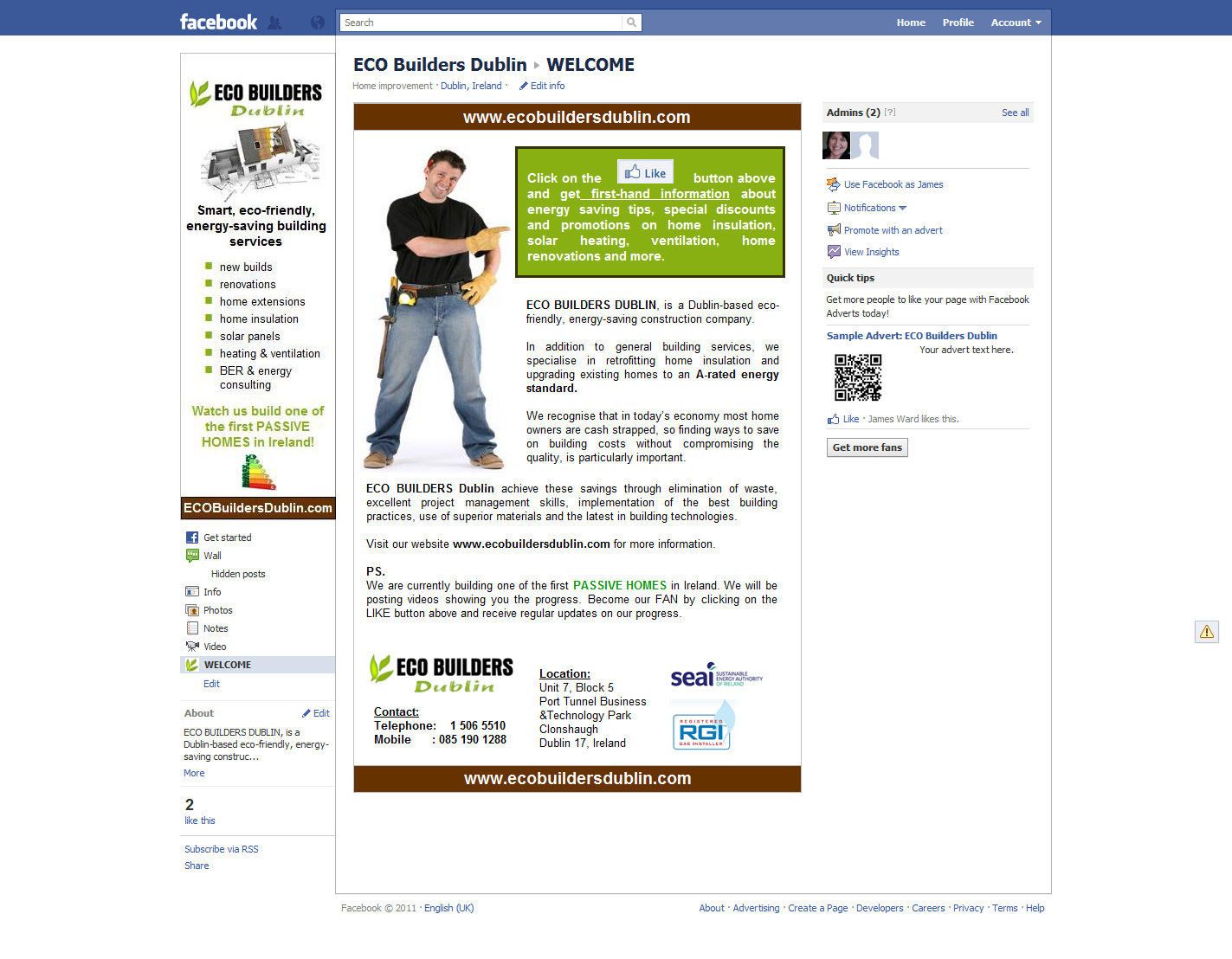 Social Media Marketing -  Branded Facebook Page example