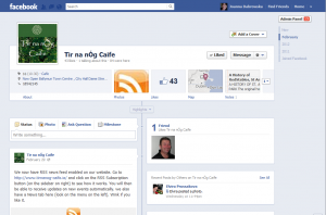 Facebook changes -Tir na nÓg Caife- new timeline before branding